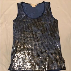 Michael Kors Blue Tank Top and clear sequins